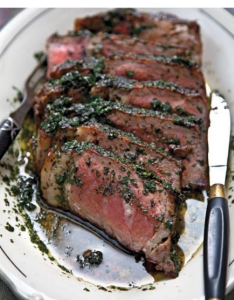 Grilled Steak and Herb Sauce