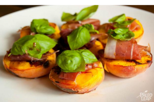 Peaches with Prosciutto and Basil