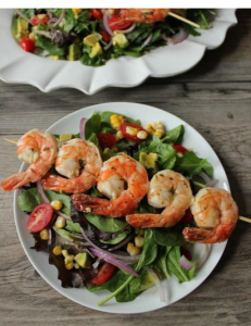 Summer Salad & Herb Shrimp with Avocado